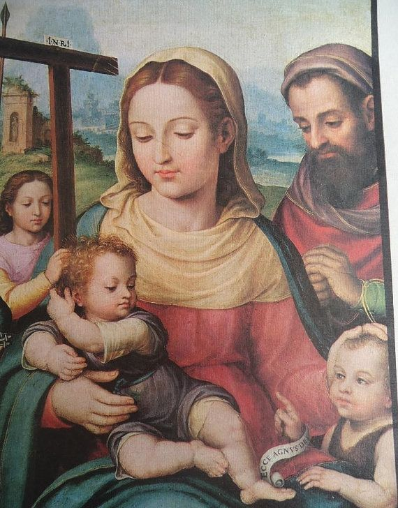 Old lithograph of the Holy Family for framing. by Amazonashop
