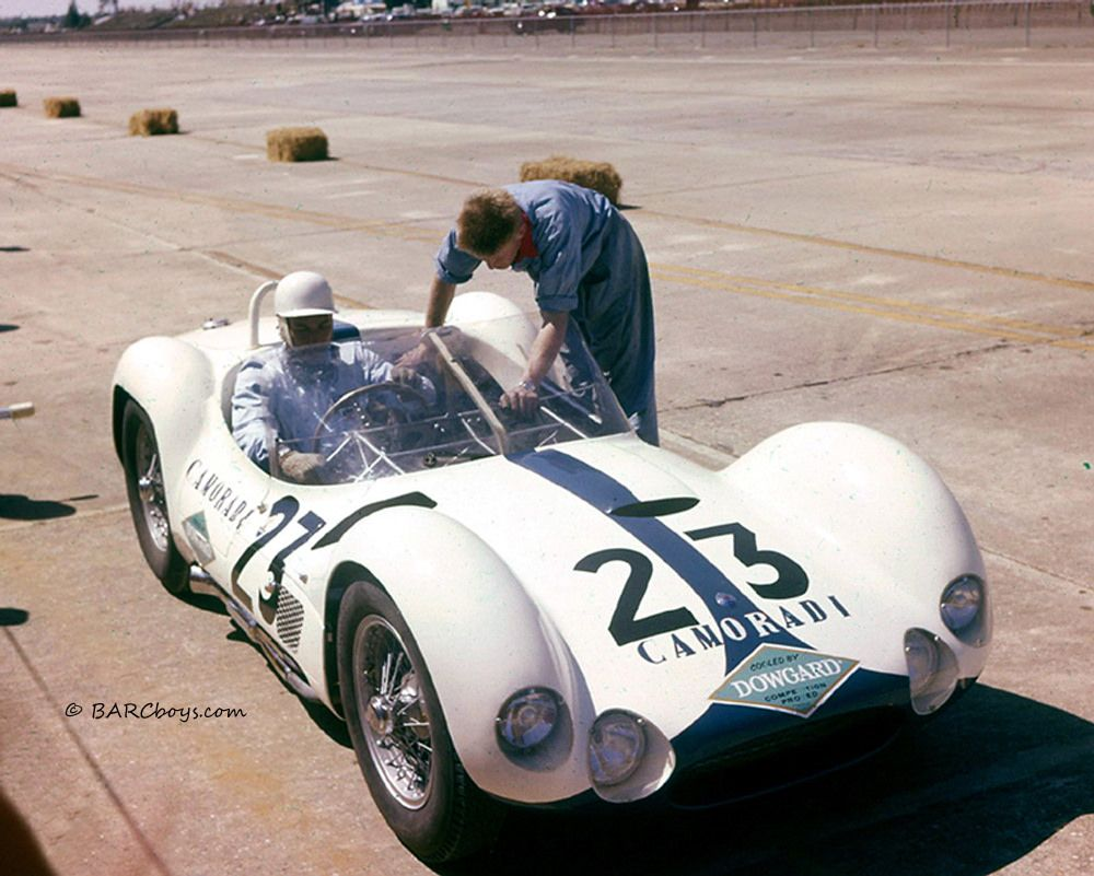 Many of you will recognize Stirling Moss in a Camoradi Maserati Tipo 61 at Sebring in 1961.