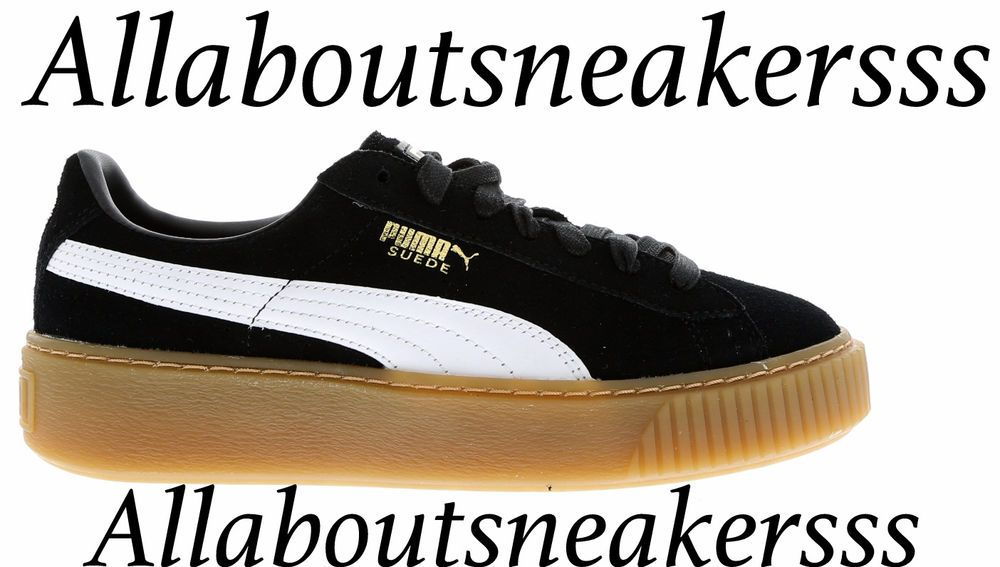 Puma Suede Platform Core Black-Star White-Oatmeal - Women Shoes 363559-02 b85e57c31