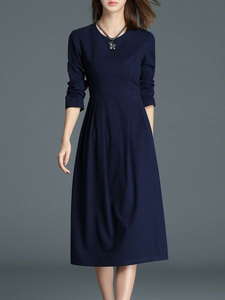 bc02c5708e42 Shop Midi Dresses - Navy Blue Long Sleeve Folds Midi Dress online. Discover  unique designers fashion at StyleWe.com.
