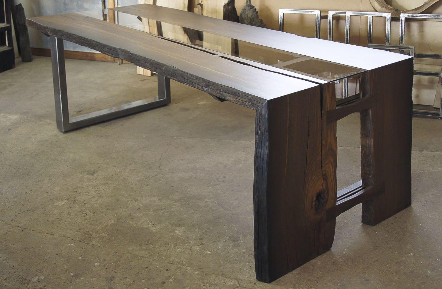 Bog oak table,made by OLDWOODDESIGNE,1600 years old,long 239 cm ...
