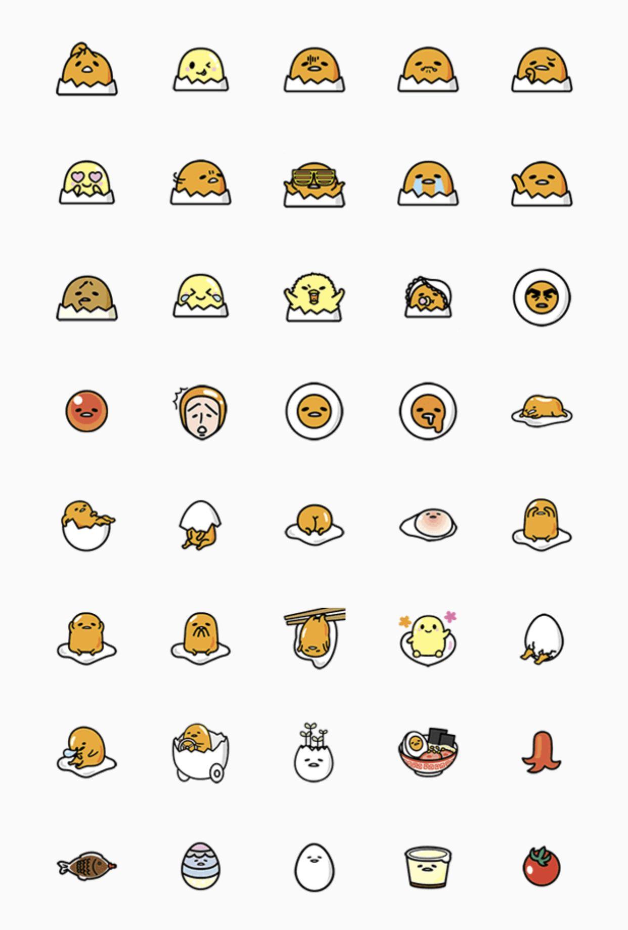 Gudetama emoji. Set