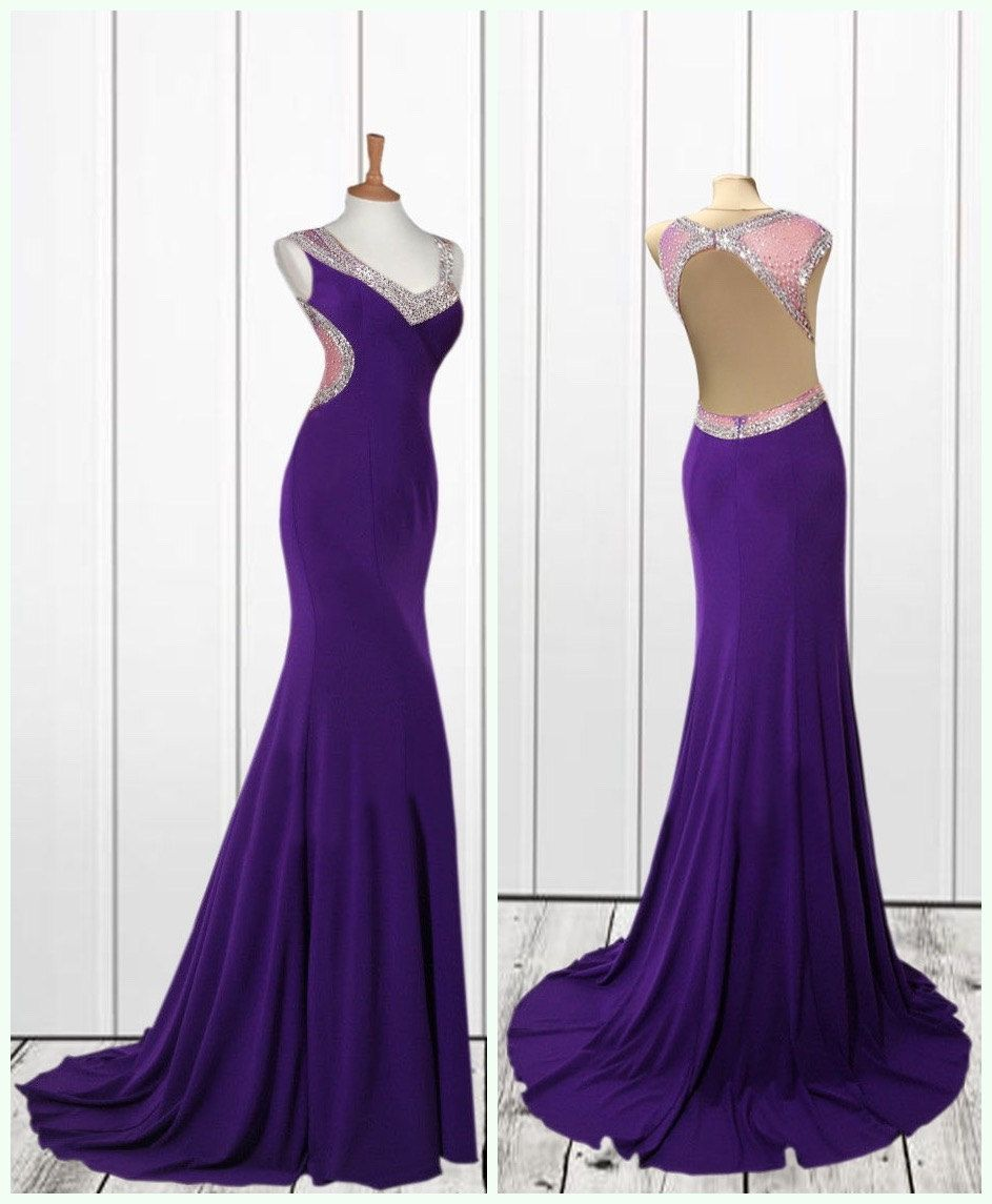 Royal blue or purple backless long prom dress formal dress ball gown
