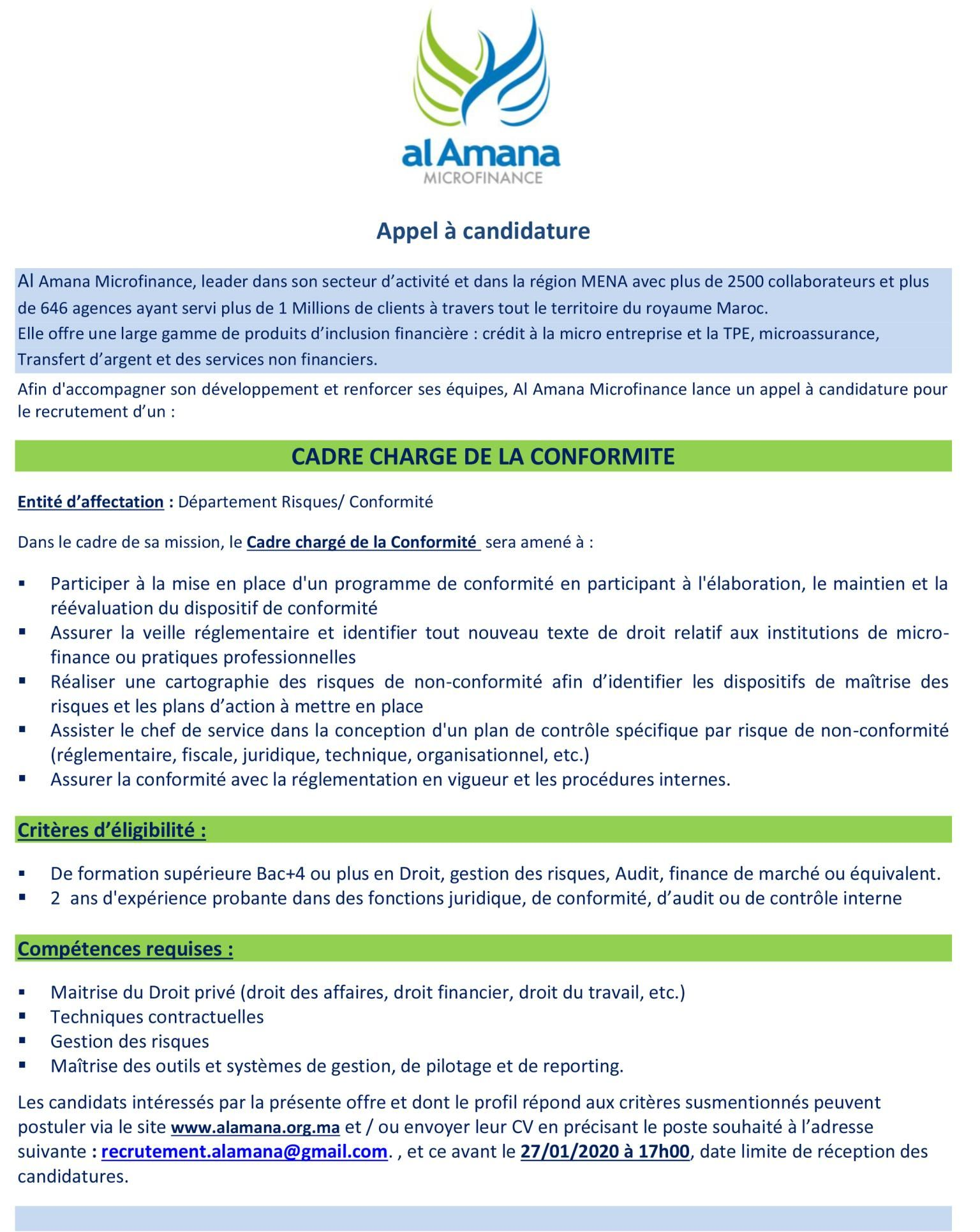 الأمانة للتمويل الأصغر تعلن عن حملة توظيف في عدة تخصصات Amana