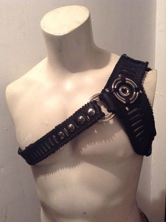 Black Leather One Shoulder Harness by LethalWare on Etsy