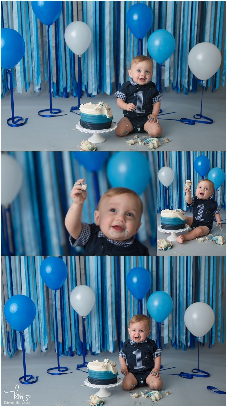 Blue White 1st Birthday Cake Smash Session In 2020 Boys First