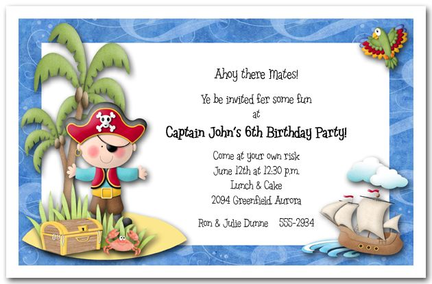 Cute idea for little boys pirate invites – Kids Birthday Party Invite