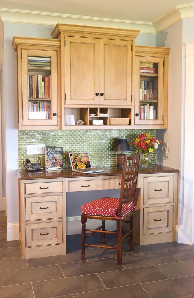 Kitchen Desk Area With Tile Backsplash, Crown Molding.