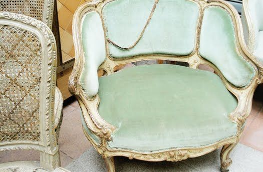 mint green antique French chair
