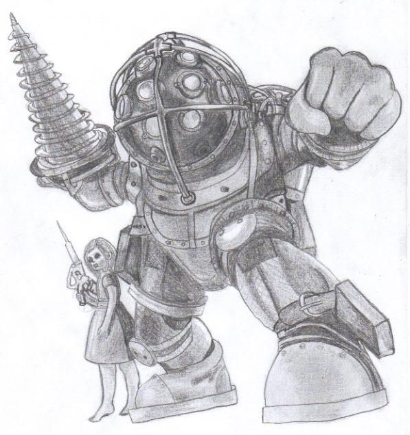 Bioshock Big Daddy And Little Sister Xbox Games Drawing
