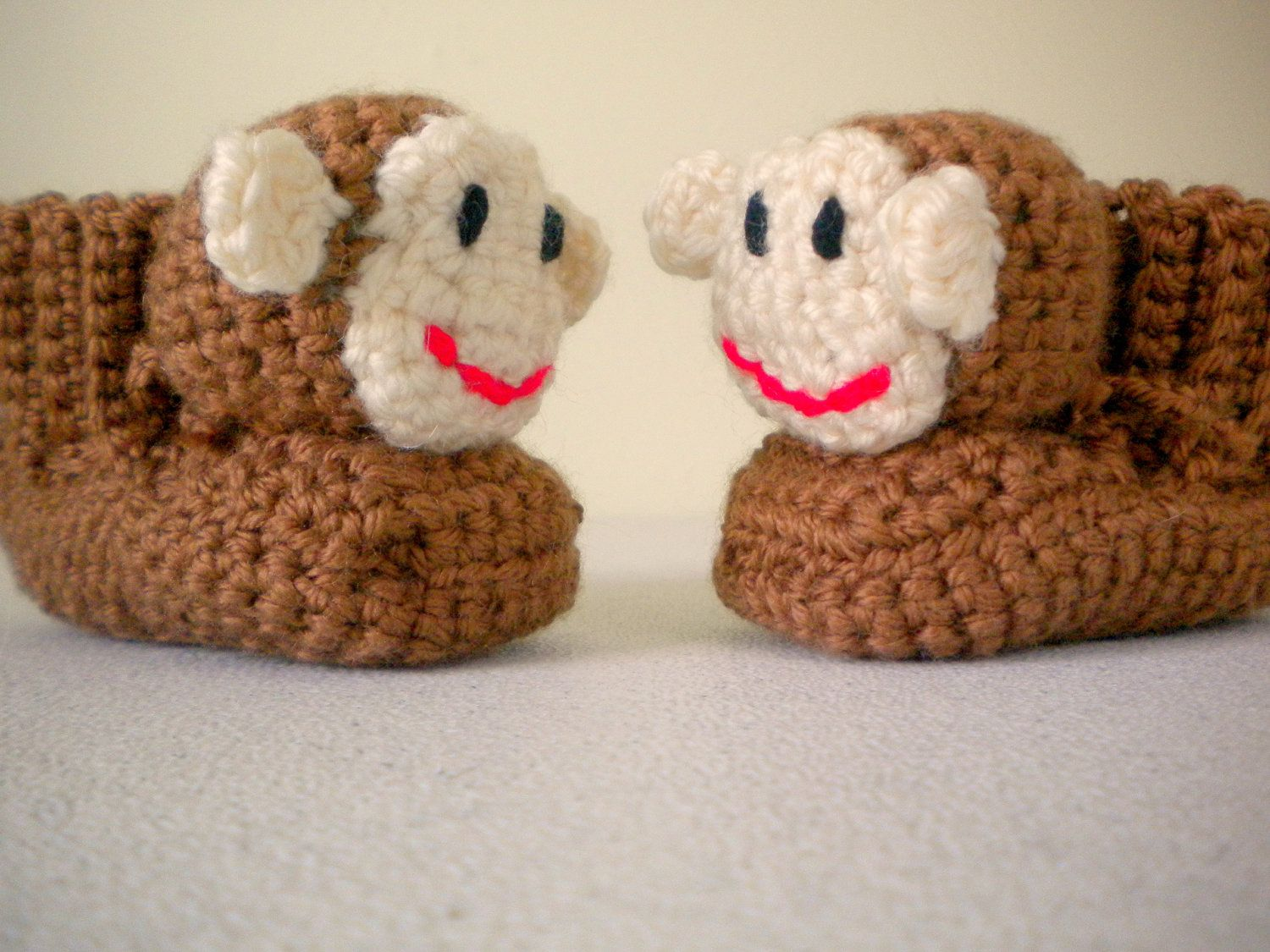 Crochet Caramel Brown Stuffed Monkey Booties Slippers With