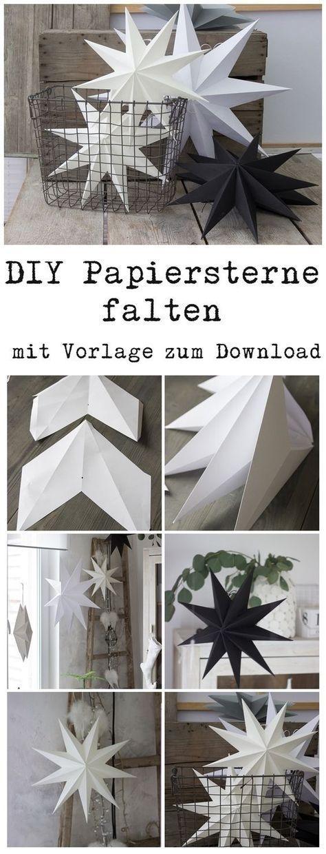 Papiersterne für die Weihnachtsdeko selber falten mit Vorlage zum Download auch für Silhouette Cameo #dekowinter