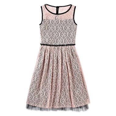 Speechless® Shiny Lace Skater Dress - Girls 7-16  found at @JCPenney