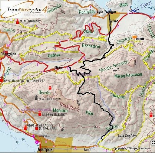 Mountaineering and Rambling map for Loutraki Greece Maps Pinterest