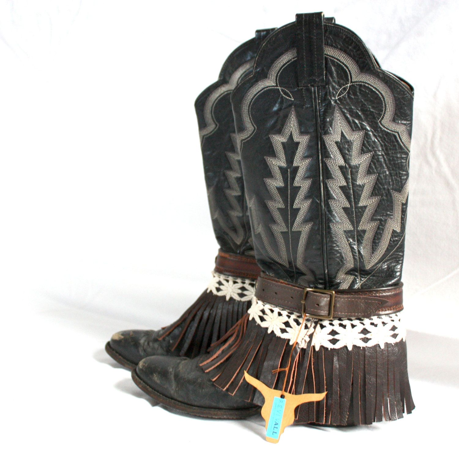 Chocolate Brown Leather and Lace Fringe Boot Belt/ Boot Harness ...