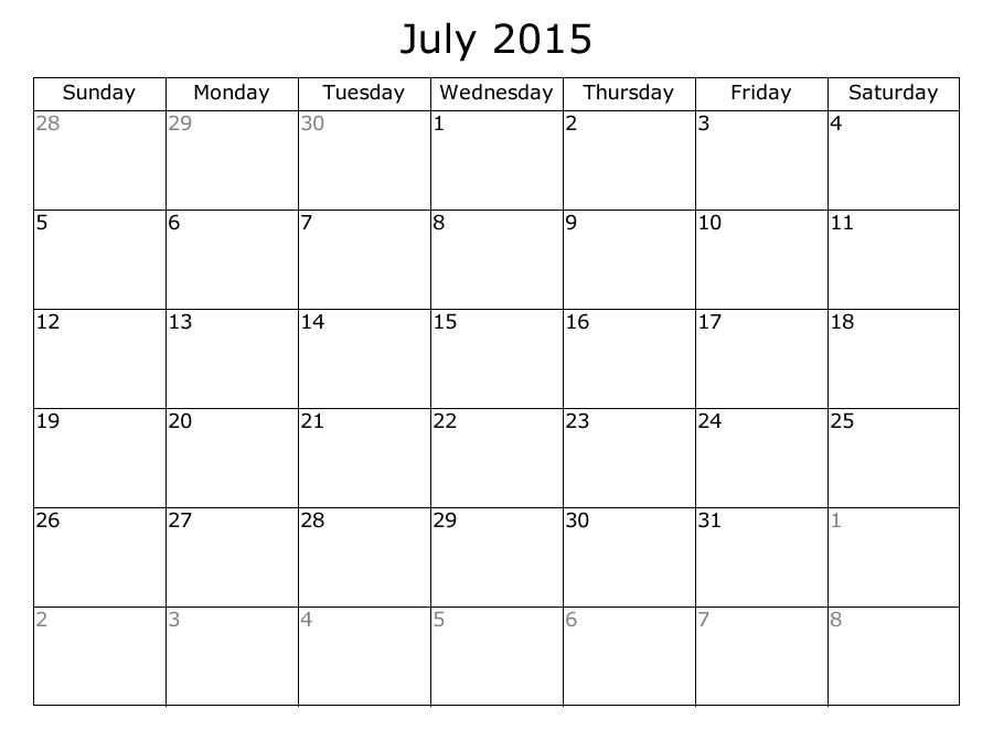 Free Printable July 2015 Calendar Idealstalist