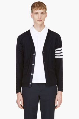 Navy and White Horizontal Striped Cardigan by Thom Browne. Buy for $795 from SSENSE
