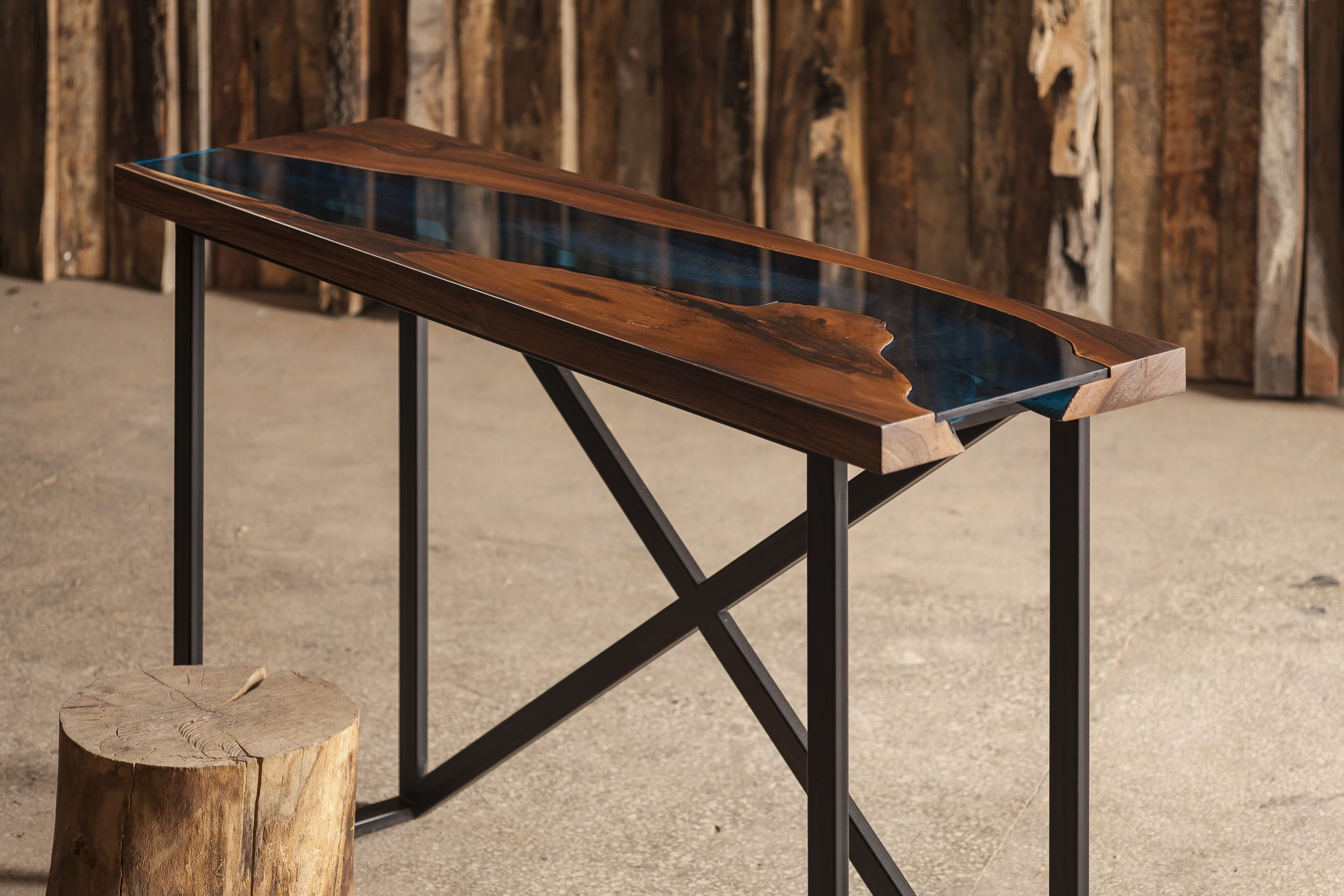 Aqua Console Table, Made From Walnut Tree And Blue Acrylic. Available For  Sale At