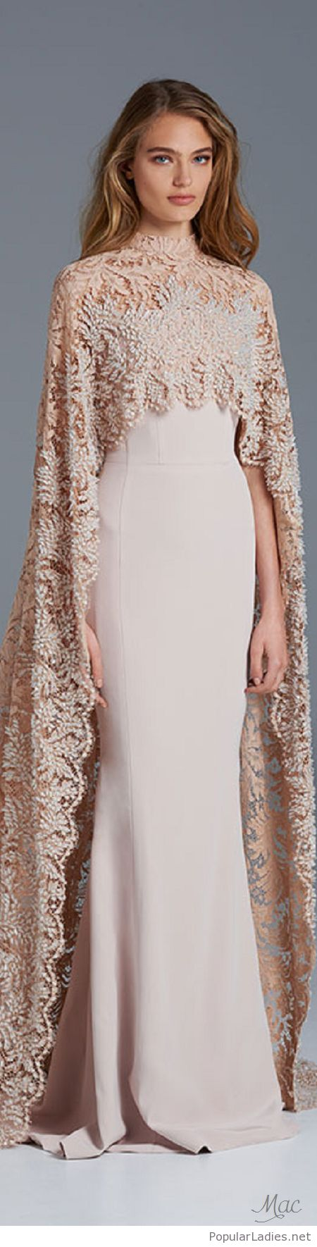 Lace dress with cape  Long nude dress with a lace cape  Pinterest  Nude dress Cape and Nude