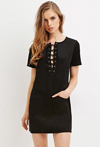 c25c7361def Faux Suede Lace-Up Dress | Forever 21 - 2000145920 $24.90 | .Make Me ...