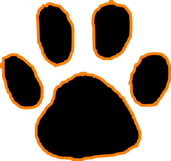 Black Tiger Paw Print With Orange Outline Hi Png 600 567 Tiger Paw Print Tiger Paw Paw
