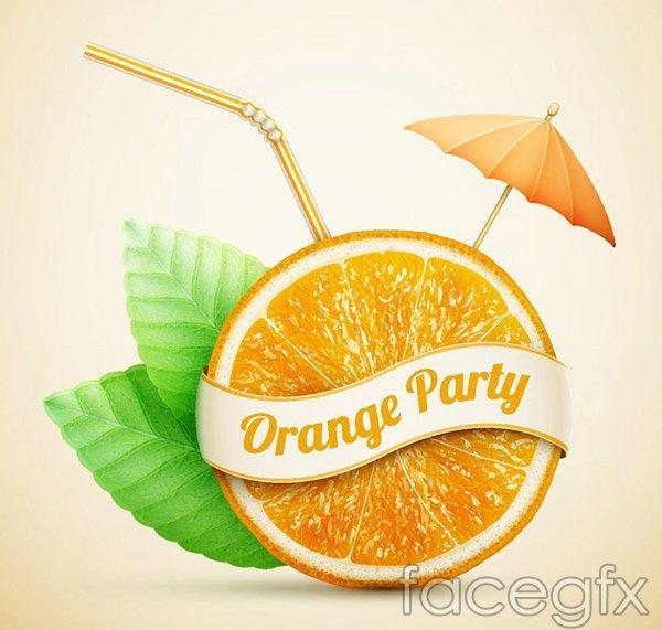 Freshly squeezed orange juice ads vector | Free Vectors