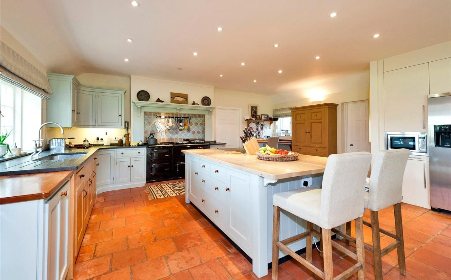 Aga Kitchen Appliances Approx 10yr Old Bespoke Painted Kitchen Dresser Island Worktops