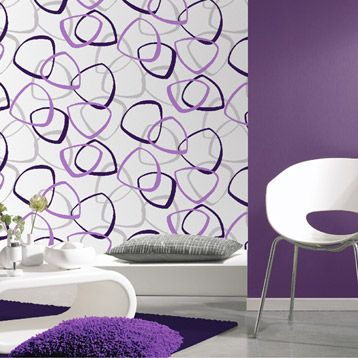 papier peint vinyle expans sur papier carson violet larg m leroy merlin interior. Black Bedroom Furniture Sets. Home Design Ideas