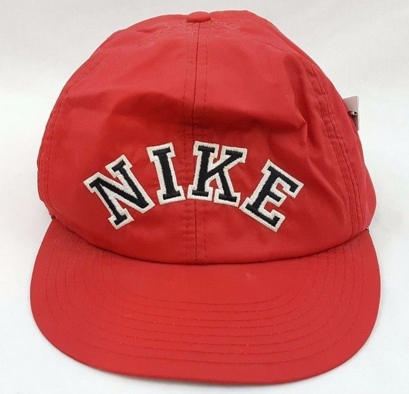 e8ca2899 Vintage NIKE Hat Snapback Cap 80's Nylon Retro Spellout Block Letter Red w/  Pin #Nike #vintage