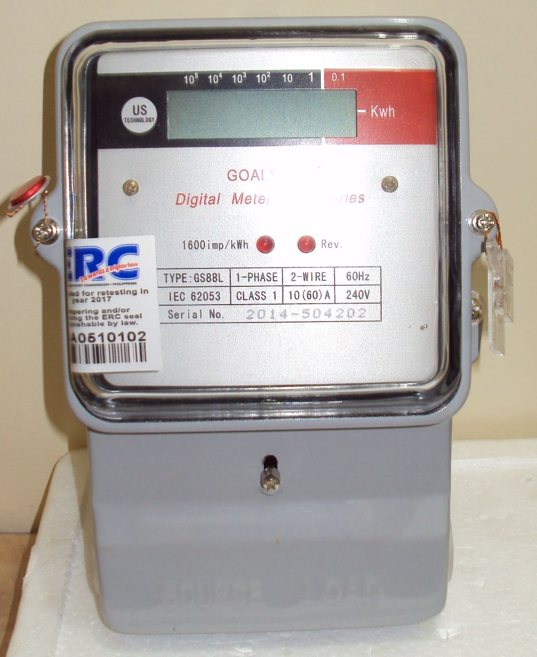 Goalstar Digital Electric Meter Gs88l Lcd Display1 Phase 2wire How To Wire Single Kwh Electrical Technology 60hz Class 1 1060 Ampere 240volts 1600 Imp Us 100 Calibrated And