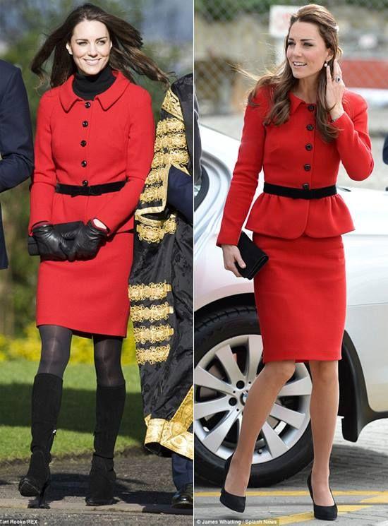 Kate Middleton per il viaggio in Nuova Zelanda tailleur rosso Luisa Spagnoli 183c1c7ce7d