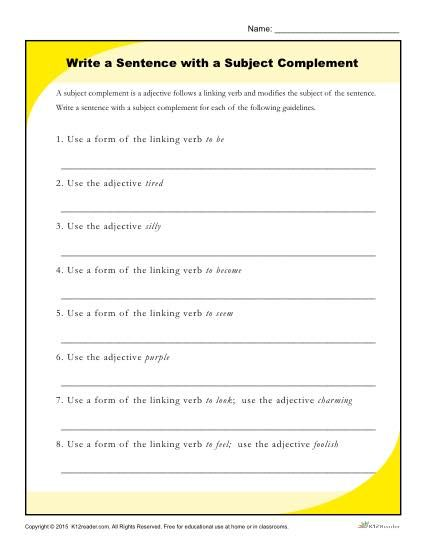 Write A Sentence With A Subject Complement Worksheet Writing A Sentence 8th Grade Reading Reading Printables