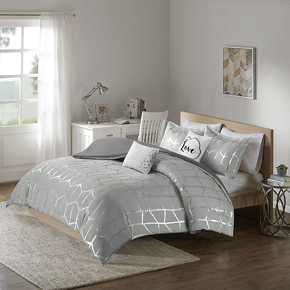 Intelligent Design Raina 5-Piece Full/queen Duvet Cover Set In Grey/silver