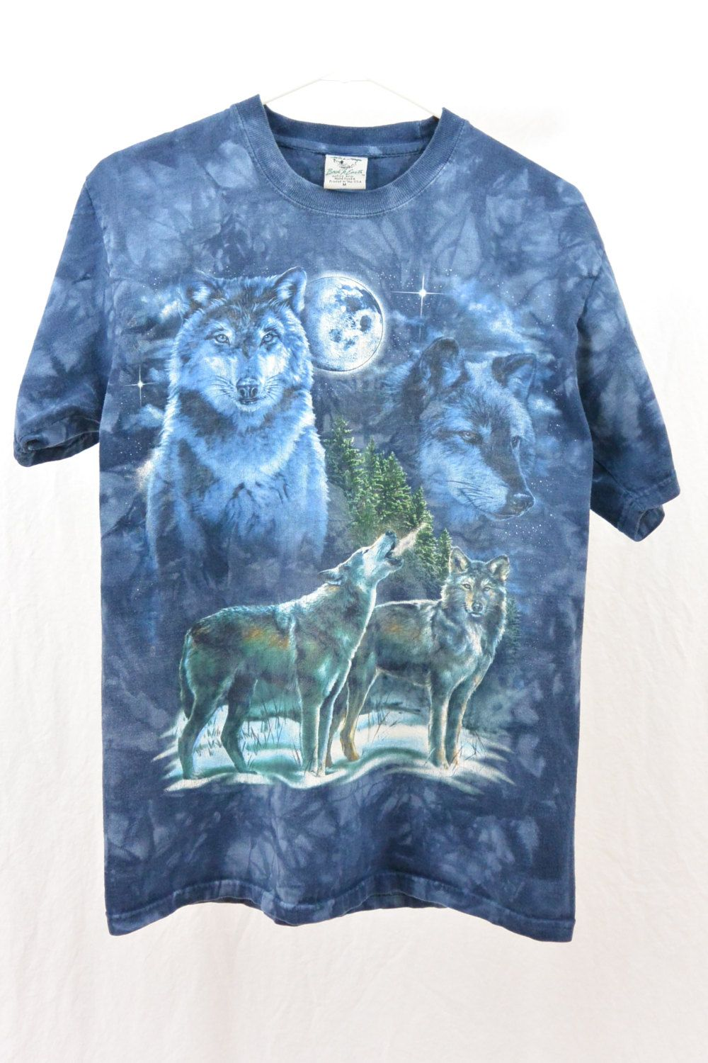 a98c6144 Vintage 90's Wolf T Shirt, Size Medium, Unisex, Hipster, Nature Clothing,  Moon, Tie Dye, Grunge, Tumblr Clothing, Animal T Shirt by  littleraisinvintage on ...