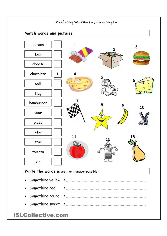 Worksheets Vocabulary Matching Worksheet vocabulary matching worksheet elementary 1 6 english for 6