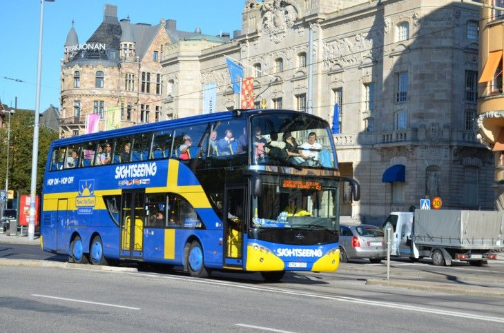 A tour bus in Stockholm, Sweden.