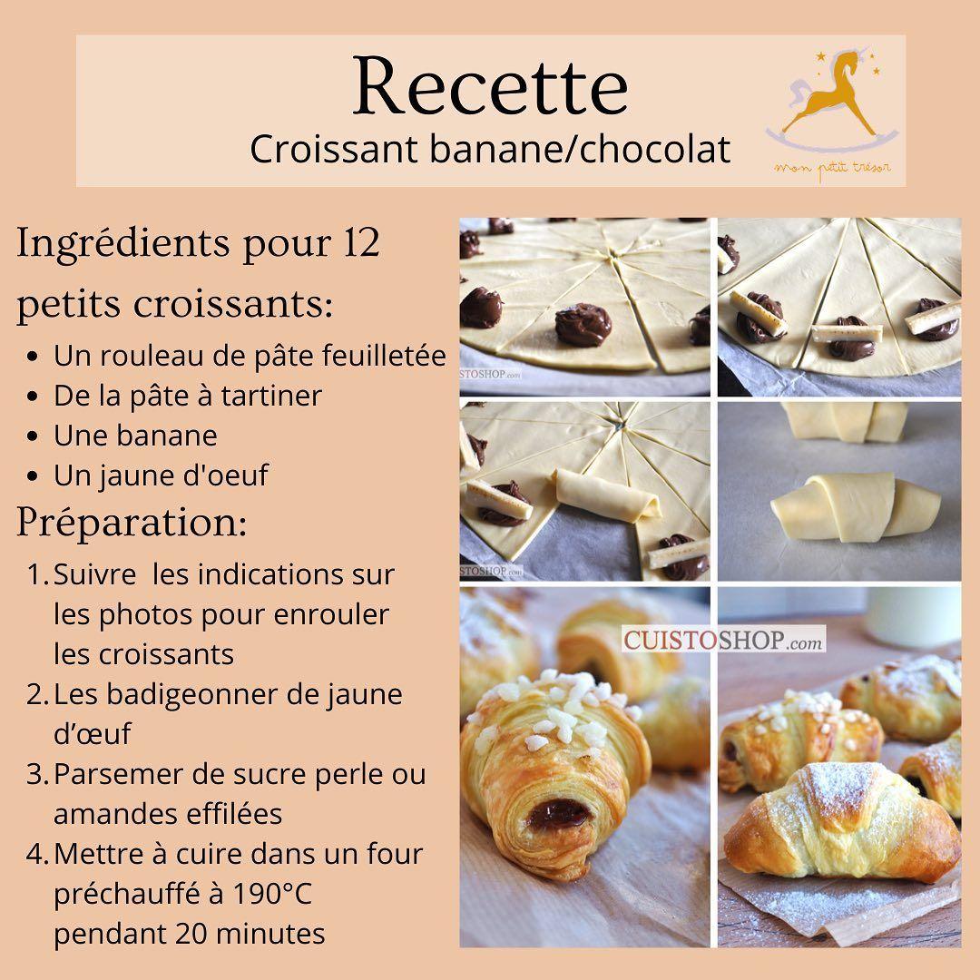 Pour Le Petit Dejeuner Ou Meme Le Gouter Ces Croissants A La Banane Et Au Chocolat Seront Parfait Bon Appetit Sour Alimentation Repas Bebe Croissants
