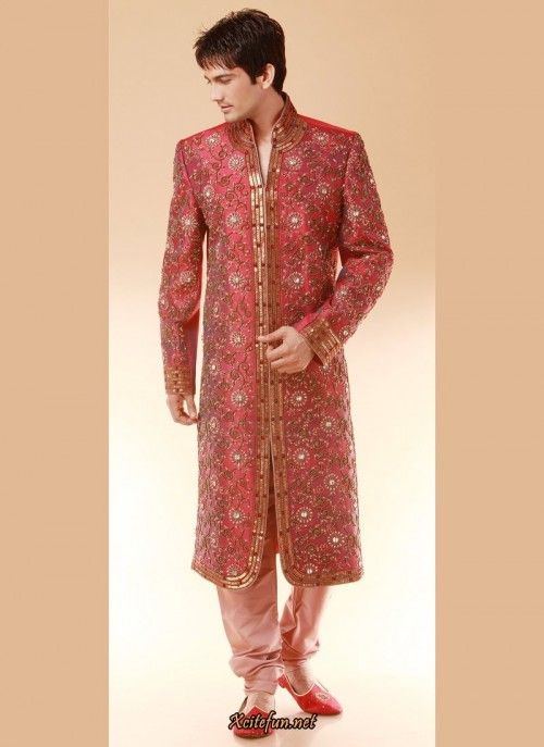 Rich red sherwani with intricate golden color bead work for the ...
