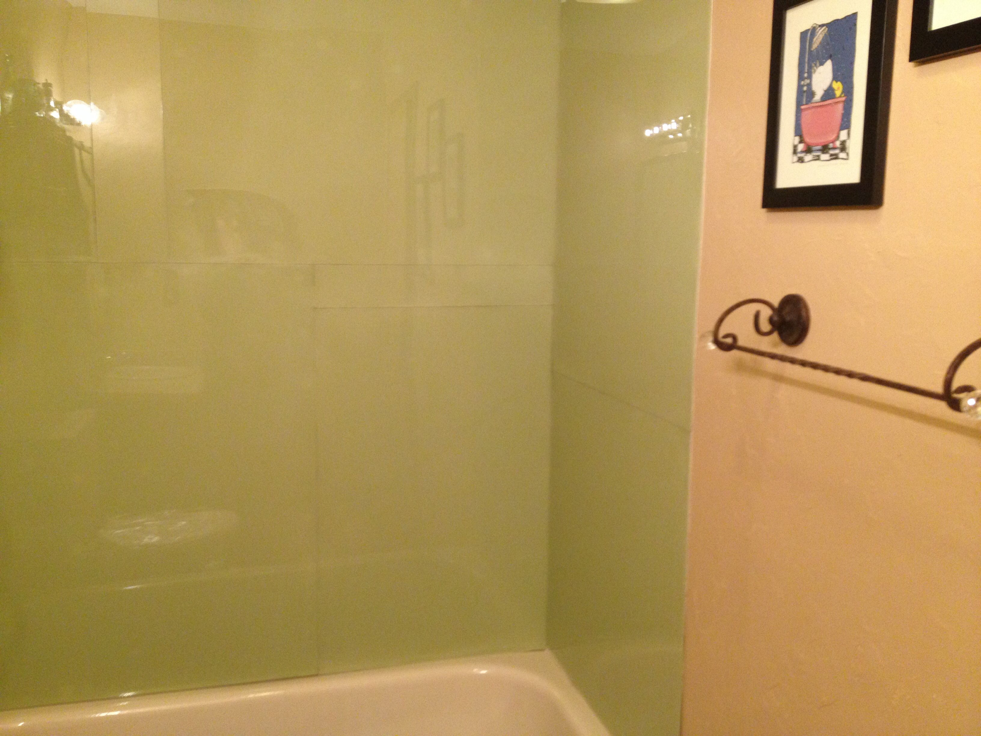 Painted plexiglass panel shower walls our diy projects - How to prepare bathroom walls for painting ...