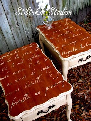 Furniture stenciling: Our Springtime in Paris lettering stencil from Royal Design Studio on some end tables. Really lovely! http://www.royaldesignstudio.com/products/springtime-in-paris-stencil-for-walls
