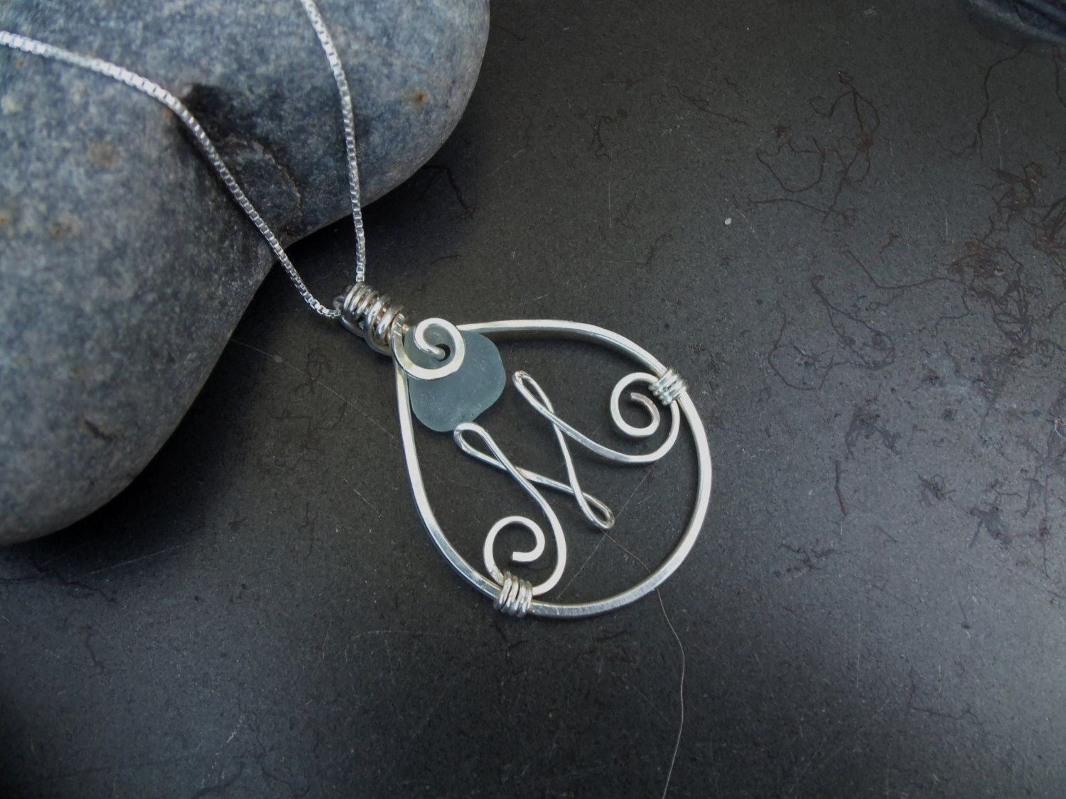 Sea glass jewelry,  Personalized sea glass and sterling silver initial necklace by FatCatsOnTheBeach on Etsy https://www.etsy.com/listing/155827051/sea-glass-jewelry-personalized-sea-glass