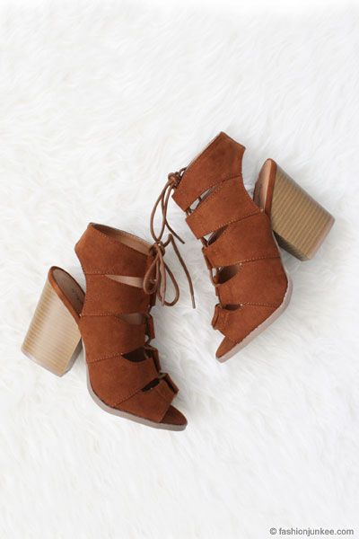 5da379627f3c Boho Faux Suede Lace Up Peep Toe Booties with Chunky Heel-Brown ...