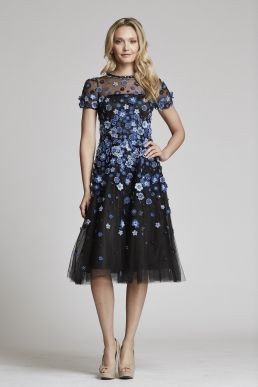 Teri Jon By Rickie Freeman Tulle Midi Dress With Fl Embellishments