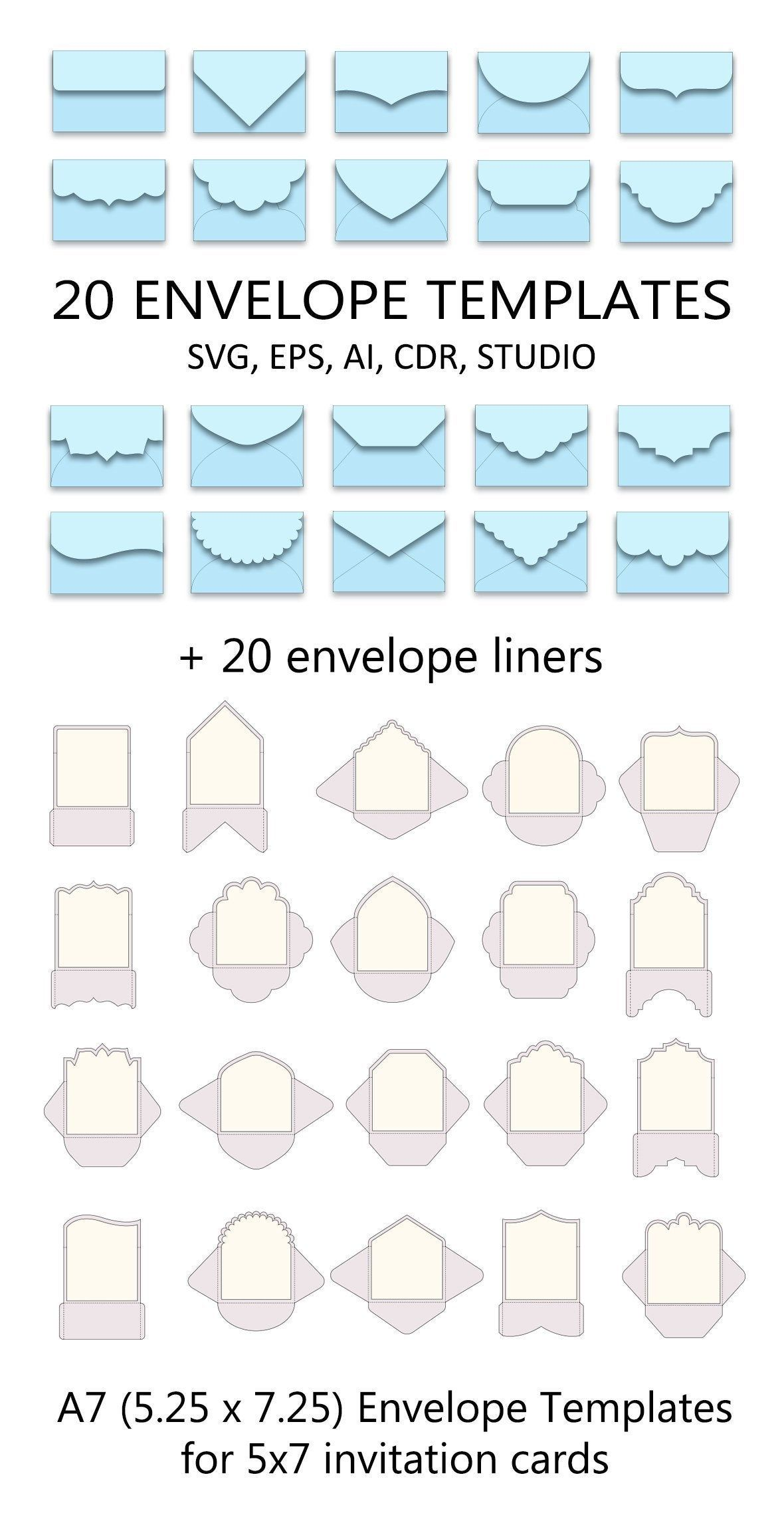 Set Of 20 A7 Envelope Templates 5 25 X 7 25 For 5x7 Invitation