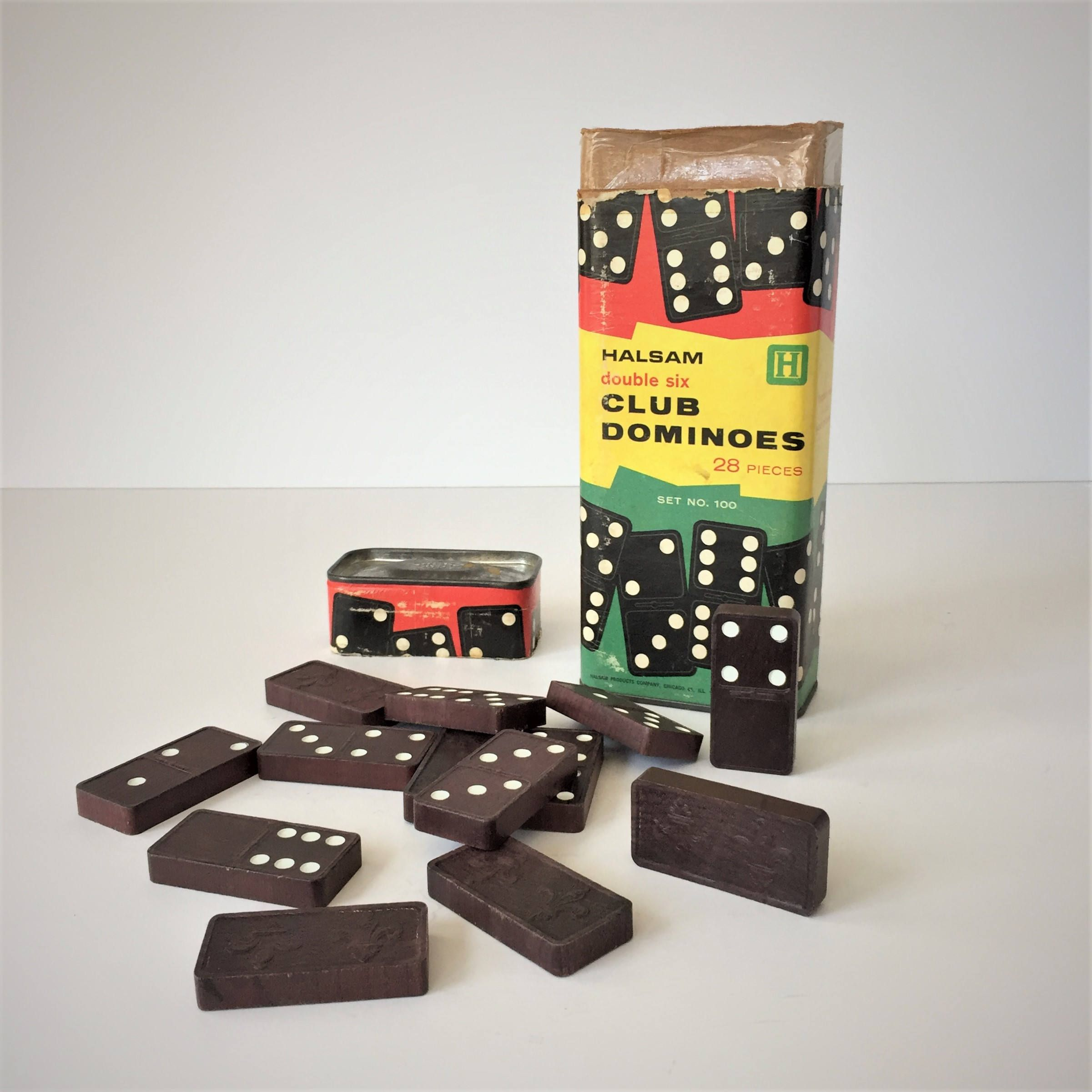 Dominoes Set, Vintage Double Six Club Dominoes, Halsam Domino Game,