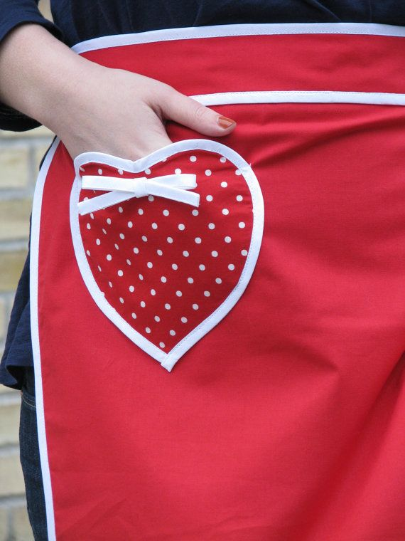 Red apron with polkadot heart pocket and white by DomesticHeaven, $40.00
