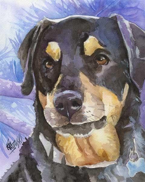 Rottweiler Art Print Of Original Watercolor By Dogartstudio Dog