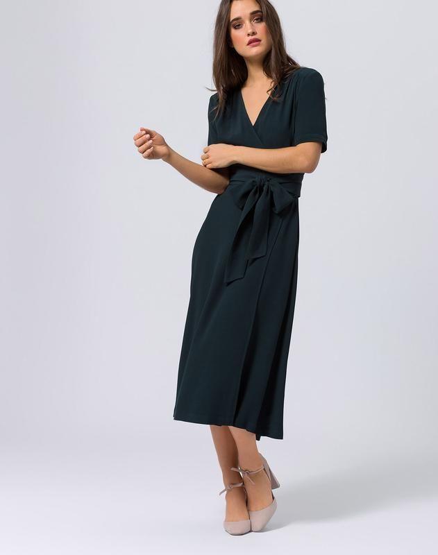 IVY & OAK Cocktailjurk 'Midi Wrap Dress' in Groen | ABOUT YOU