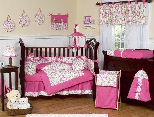 White, Pink & Lime Green Baby 9 Piece Crib Set by Sweet Jojo Designs
