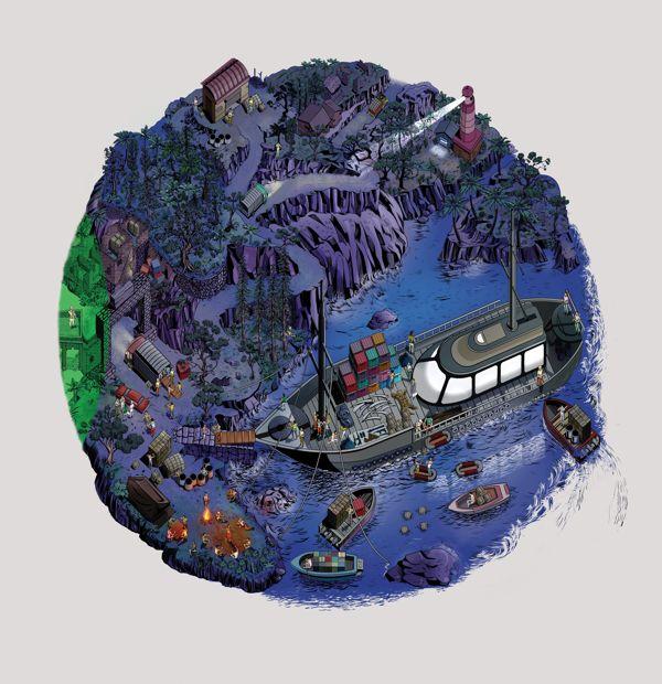 Perspectiva isométrica ilustrada para campanha da Koryo Mobile